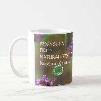 White Butterfly on Purple Wildflower Coffee Mug