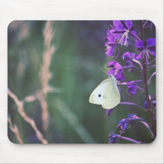 White Butterfly on Purple Wildflower Mouse Pad
