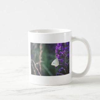 White Butterfly on Purple Wildflower Mugs