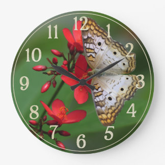 White Butterfly on Red Flowers Large Clock