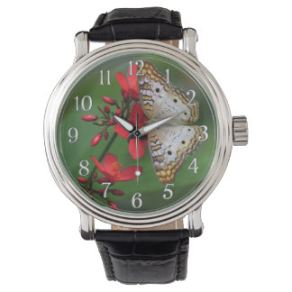 White Butterfly on Red Flowers Photograph Wrist Watch