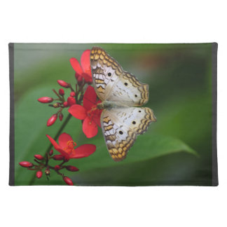 White Butterfly on Red Flowers Placemat