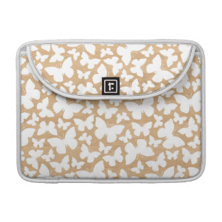 White Butterfly Print Wood Texture MacBook Sleeve