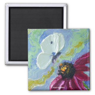White Butterfly & Purple Cone Flowers Magnet