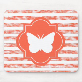 White Butterfly Silhouette With Coral Stripes Mouse Pad