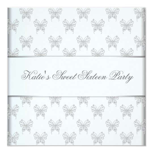 White Butterfly Sweet 16 Birthday Party Card