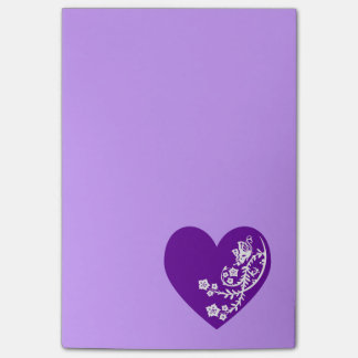 White Butterfly Violet Purple Heart Post-it® Notes