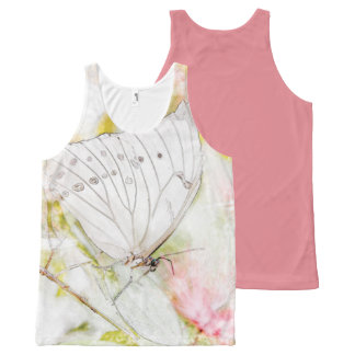 White Butterfly Watercolor Printed Unisex Tank All-Over Print Tank Top