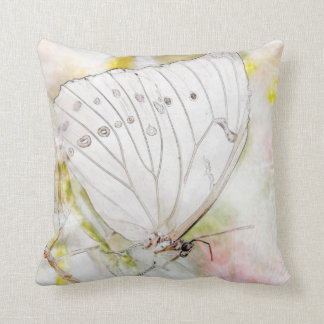 """White Butterfly Watercolor Throw Pillow 16"""" x 16"""""""