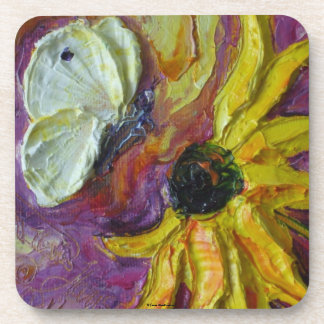 White Butterfly & Yellow Coaster