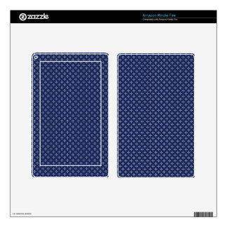 White Button Stars on Deep Blue Kindle Fire Skin