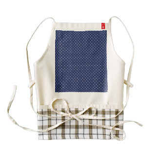 White Button Stars on Deep Blue Zazzle HEART Apron