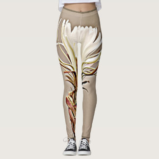 White Cactus Bloom on Brown Women's Leggings