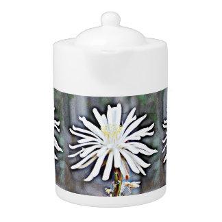 White Cactus Bloom Tea Pot