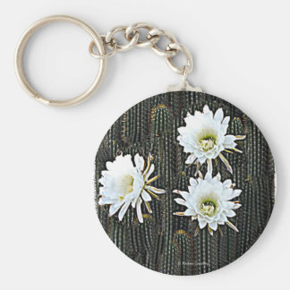 White Cactus Blooms Keychain