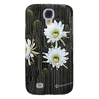 White Cactus Blooms Samsung Galaxy S4 Case