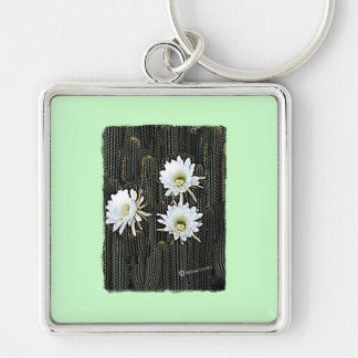 White Cactus Blooms Silver-Colored Square Keychain