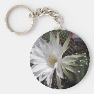 White Cactus Flower Bloom Keychain