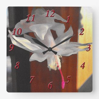 White Cactus Flower Square Wall Clock
