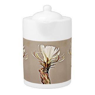 White Cactus on Tan Flower Tea Pot