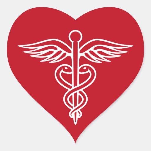 white caduceus logo on red doctor nurse sticker zazzle