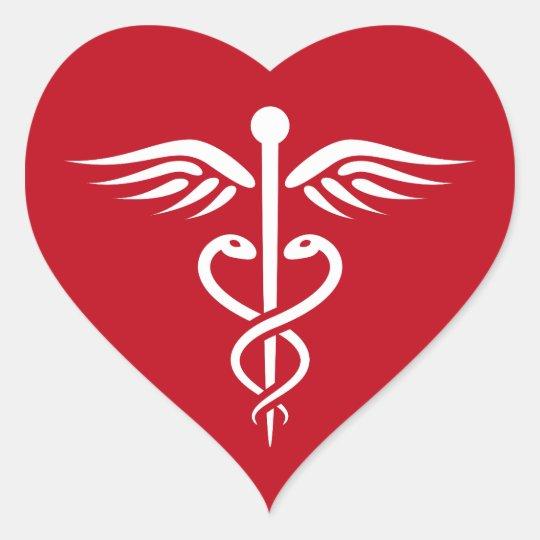 white caduceus logo on red doctor nurse sticker zazzlecom
