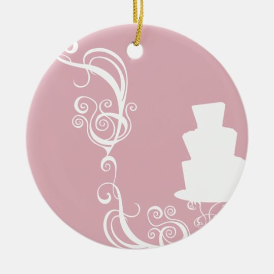 White Cake Ceramic Ornament