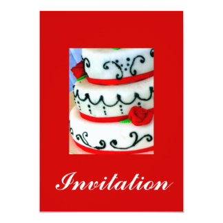 White cake with red roses card