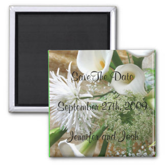 White Cala Lilies Save the Date Magnet