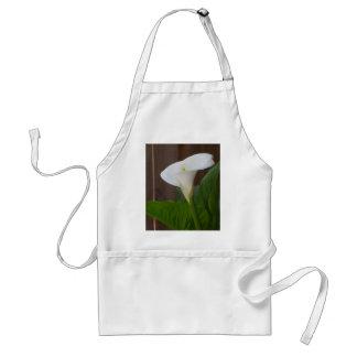 White Cali Lily Adult Apron