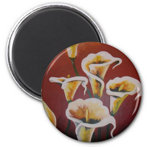White Calla Lilies 2 Inch Round Magnet