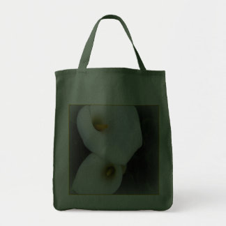 White Calla Lilies  Canvas Grocery Tote Grocery Tote Bag