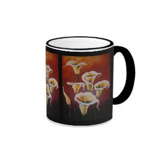 White Calla Lilies Ringer Coffee Mug