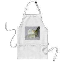 white calla lilies on decorative cloth apron