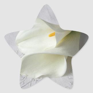 white calla lilies on embroidered cloth stickers