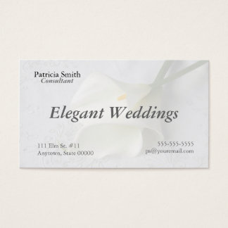 white calla lilies on linen business card