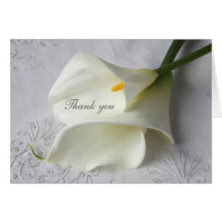 White calla lilies on linen thank you card