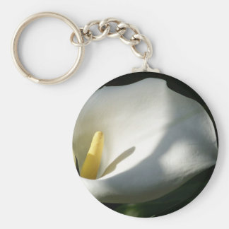 White Calla Lilies Over Black Background In Soft F Keychain