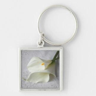white calla lilies square keychain