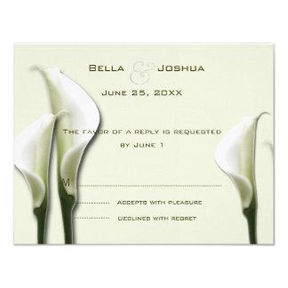 """White Calla Lillies RSVP 4.25"""" X 5.5"""" Invitation Card"""