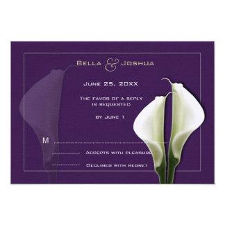 White Calla Lillies RSVP on Purple Invitations