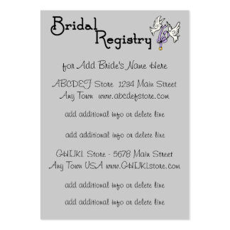 White Calla Lily - Bridal Registry Cards Large Business Card