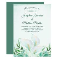 White Calla Lily Monogram Wedding Invitations
