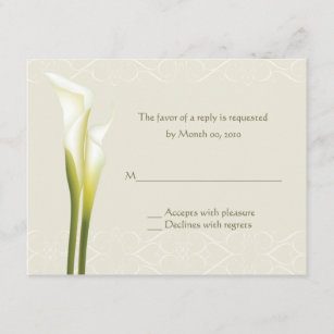 White Calla Lily Reply cards