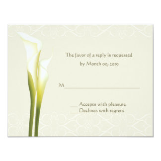 White Calla Lily Reply cards Custom Announcements