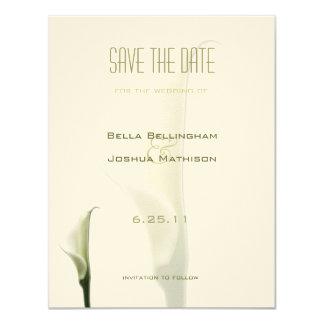 """White Calla Lily Save the Date Announcement 4.25"""" X 5.5"""" Invitation Card"""