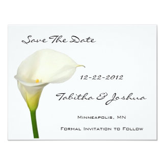 White Calla Lily Save The Date Cards Custom Invites