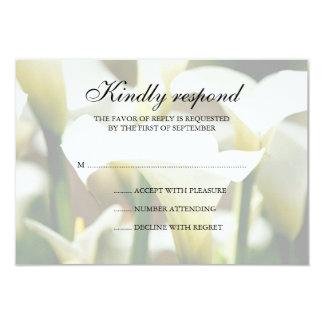 White Calla Lily Wedding Response Card Custom Invitations