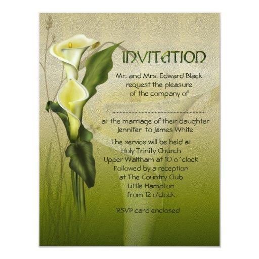 """White Calla Wedding 4.25"""" X 5.5"""" Invitation Card"""