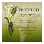 """White Calla Wedding 5.25"""" Square Invitation Card"""